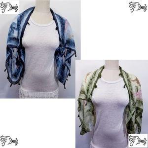 Women Shrug Scarf Wrap Blue or Green Floral Fringe